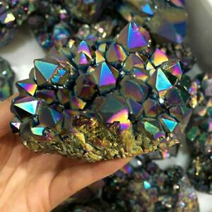 100g Natural Rainbow Aura Titanium Quartz Crystal Cluster Vug Rock Gemstone Gift