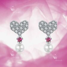 925 silver earrings simulated diamond screw back baby girl stud heart rose red