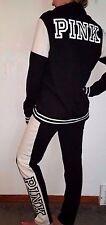 Victorias Secret PINK Half Zip Hoodie Sweatspants  Set Lot S Small Black Logo