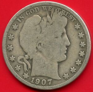 1907 United States Barber Half Dollar Silver Coin (12.5 Grams .900)