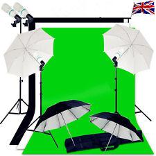 Photo studio background support éclairage kit 3 décors parapluie continu uk