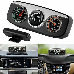 3 in 1 Car Vehicle Dashboard Thermometer Hygrometer Hike Compass Navigation Tool