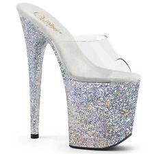 Pleaser FLAMINGO-801LG Women's Clear Silver Glitter Heel Platform Slide Sandals