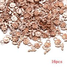 Wholesale 16pcs Tibet Silver Rose Flower Charm Pendant Beads Jewelry Making cn