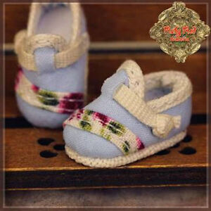 HH0037A Yu Ping Blue Fabric Ruby Red Galleria DOLL SHOES Lati Yellow