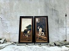 Pair of Original Early 1900s Dog Oil Painting Portraits