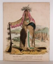 1830s Native American Indian Currier & Ives Style Stone Litho James Otto Lewis 1