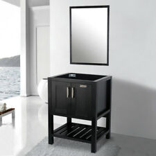 24 inch Modern Bathroom Vanity Cabinet Only W/ Mirror Wood Single Table Black