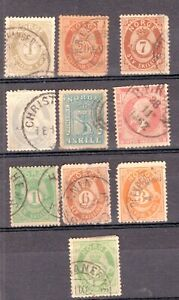 NORWAY LOT, 10 DIFFERENT CLASSIC STAMPS, 2nd QUALITY, USED