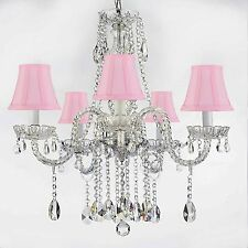 AUTHENTIC ALL CRYSTAL CHANDELIERS LIGHTING EMPRESS CRYSTAL (TM) WITH PINK SHADES
