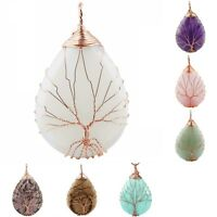 Teardrop Tree of Life Crystal Healing Gemstone Wire Wrapped Pendant Fit Necklace