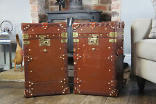 Beautiful Pair Of Tall Antique leather English Campaign Trunks Chests