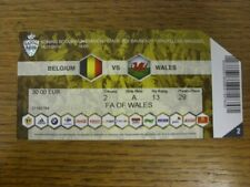 16/11/2014 Ticket: Belgium v Wales [In Brussels] (corner trimmed on entry). Than