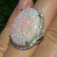Huge White Fire Opal Women Rings for Women 925 Silver Wedding Ring Size 6-10