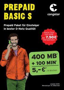 Congstar Basic S✔7,50€ Startguthaben✔400 MB✔100 Frei min✔Handy Prepaid SIM Karte