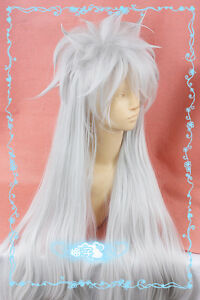 """732 Silver White 100cm/40"""" Long Cosplay Wig Free Wig Cap"""