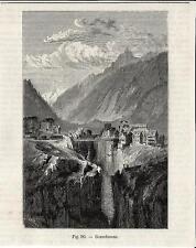 Stampa antica GOSCHENEN Imbocco San GOTTARDO GOTTHARD Switzerland 1896 Old Print