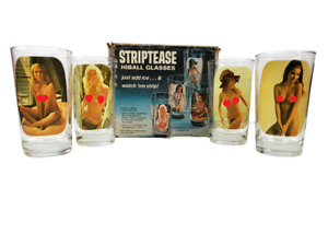 Vintage 1975 Striptease Naked Lady Hiball Libbey Tumbler Barware Glasses Set 4