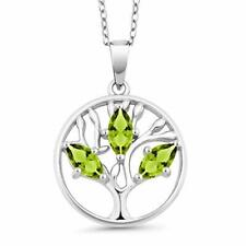 """Peridot Tree Of Life Necklace in 18K Gold Plated 18"""" with 2"""" Extender"""