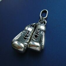 2 BOXING GLOVE left and right SILVER PENDANT NECKLACE CHARM MUAY THAI KICK UFC