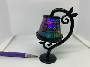 E061 Moon&Stars Vintage Table LED Lamp w/ Colored Shade Furniture Miniature