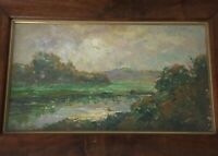 Antique Oil Impressionist painting Landscape with Light Effect Dieudonne JACOBS