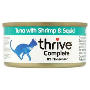 thrive Wet Cat Food Tuna, Shrimp & Squid - 100% Natural Complete Fish Tin - 75g