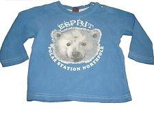 Esprit tolles Langarm Shirt Gr. 68 blau mit Eisbär Motiv !!