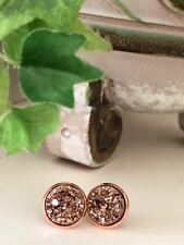 12mm Sparkly Round Druzy Rose Gold Earrings