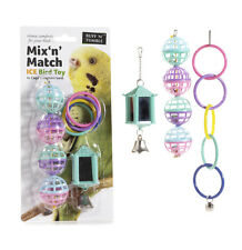 Bird Cage 3 Mixed Toys, Mirror, Balls & Rings   Budgie, Parakeet, Cockatiel etc