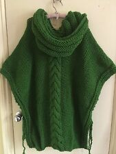100% ALPACA Wool Chunky Knit Oversized Hooded Poncho Grass Green XXL Tied Sides