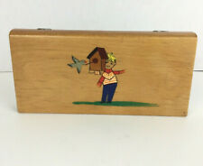 Vintage Handpainted Child's Wooden Pencil Box Bird House