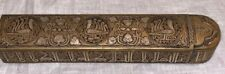 Antique 19th century archaistic sheet brass pen box with silver-inlaid calligrap