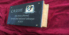 Pet Memorial Ashes Box Urn &Personalised Photo Plaque & Oak Casket Medium Dog