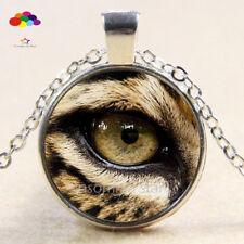 Vintage Cabochon Tibetan Silver Glass leopard eye Chain Pendant Necklace zqd100