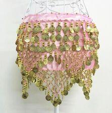 Gold Silver Coin Belly Dance Costume Velvet Hip Scarf Tribal Triangle Belt Skirt