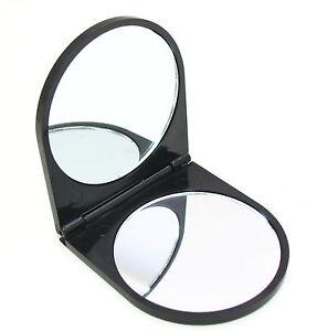 Serenade - Black Plastic Compact Folding Pocket Mirror