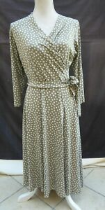 Marks & Spencer Collection khaki mix 3/4 sleeve fit & flare style dress Size 14