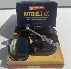 Vtg. Garcia Mitchell 400 Spinning Fishing Reel in the Box with Extra Spool
