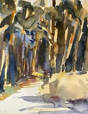 Alfred Behle 1935-97 Expressives Aquarell Weg im Waldinneren In the Woods #2
