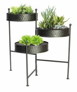 Panacea Hammered 3 Tier Folding Metal Plant Stand - Grey