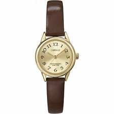 Timex Carriage C3C601, Women's Brown Leather Watch, Goldtone Dial