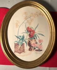 Rare Oval Picture Frame Flowers In Vase Painted Picture
