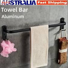 Bathroom Black Towel Rack Holder Hand Single Rail Hanger Hook Aluminum 1 Bar AU