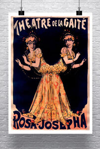 Conjoined Twins Paris Vintage Sideshow Poster Giclee Print on Canvas or Paper
