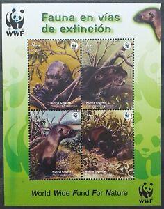 Peru 2004 WWF Giant Otters - Block - MNH