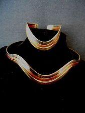 Vintage Collar Necklace w/matching Cuff Bracelet Copper Silver Brass Retro
