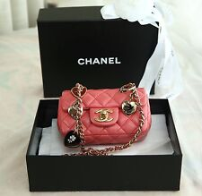 VERIFIED Authentic Chanel Pink Leather Valentines Charms Extra Mini Flap Bag