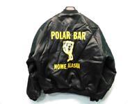 Vintage Black Polar Bar Nome Alaska M Satin Jacket Dunbrooke Yellow Bear Logo AK