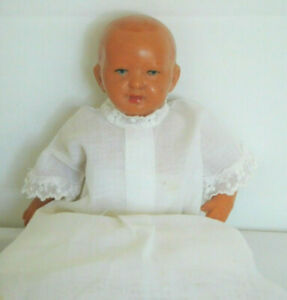 """Vintage 7"""" Celluloid Jointed Baby Doll in Gown German Turtle Mark"""